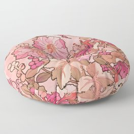 "Alphonse Mucha ""Printed textile design with hollyhocks in foreground"" (edited red) Floor Pillow"
