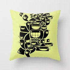 Happy Squiggles - 1-Bit Oddity - Black Version Throw Pillow