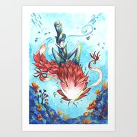 The man with the dragon ocean Art Print