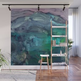 Enchanted Emerald Forest Abstract Painting Wall Mural