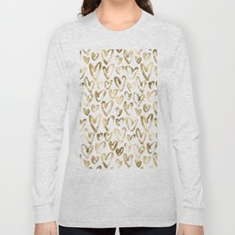 Gold Love Hearts Pattern on White Long Sleeve T-shirt