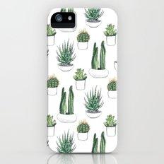 watercolour cacti and succulent iPhone SE Slim Case