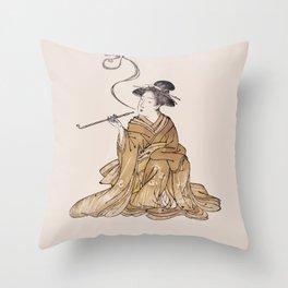 Vintage Oriental Antique Japan Smoking Lady Throw Pillow