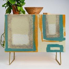 Soft And Bold Rothko Inspired - Corbin Henry Modern Art - Teal Blue Orange Beige Credenza