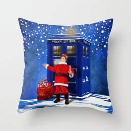 10th Doctor who Santa claus Throw Pillow