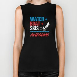 Water + Boat + Skis = Awesome Biker Tank