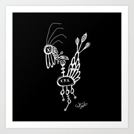 Dead Bird - White on Black Art Print