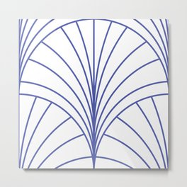 Round Series Floral Burst Cobalt on White Metal Print
