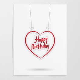 Happy birthday. red paper heart on White background. Poster