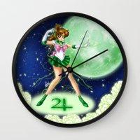 sailor jupiter Wall Clocks featuring Sailor Jupiter by HaruShadows