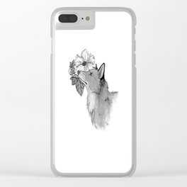 Flower Fox Clear iPhone Case