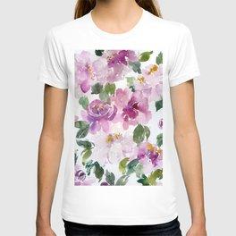 loose peonies in watercolor T-shirt