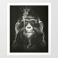 black white Art Prints featuring Smoke 'Em If You Got 'Em by Dr. Lukas Brezak