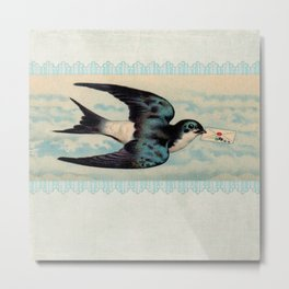 Blue Swallow with Love Letter Metal Print