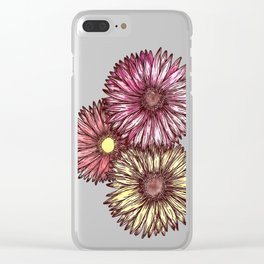 Pink and Yellow Gerber Daisies Watercolor and Ink Painting Clear iPhone Case