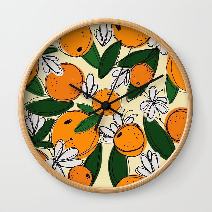 Oranges in Bloom Wall Clock