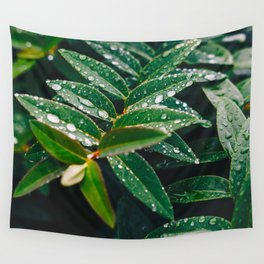 Geometric Wet Leaves Green Plant Wall Tapestry