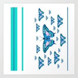 CONTEMPORARY LAGOON BLUE BUTTERFLIES MODERN ART Art Print
