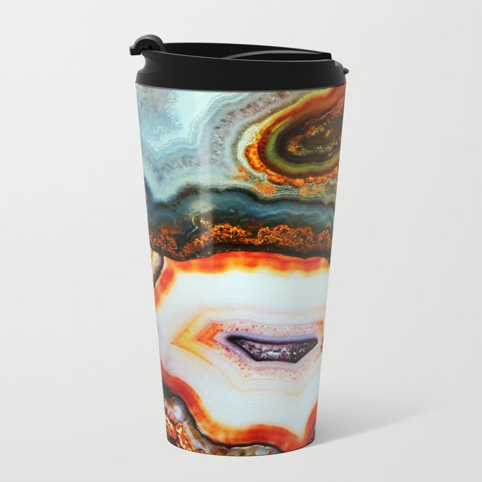 Agate, the Layers of our Earth Metal Travel Mug