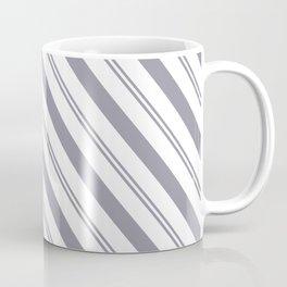Pantone Lilac Gray and White Stripes Angled Lines Coffee Mug