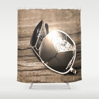 sunglasses Shower Curtains featuring Sunglasses by Cs025