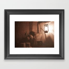 Down The Old Mine Framed Art Print