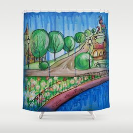 Landscape Painting Fairy town Acrylic S13 Contemporary Nursery Cityscape art for baby children kids Shower Curtain
