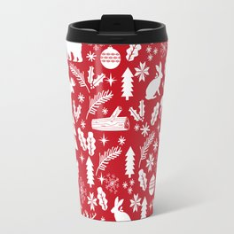 Festive Christmas woodland reindeer moose bear camping red and white minimal pattern for holidays Travel Mug