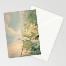 Cloudy with Sunshine and Queen Anne's Lace Wild Flowers in a Meadow Stationery Cards