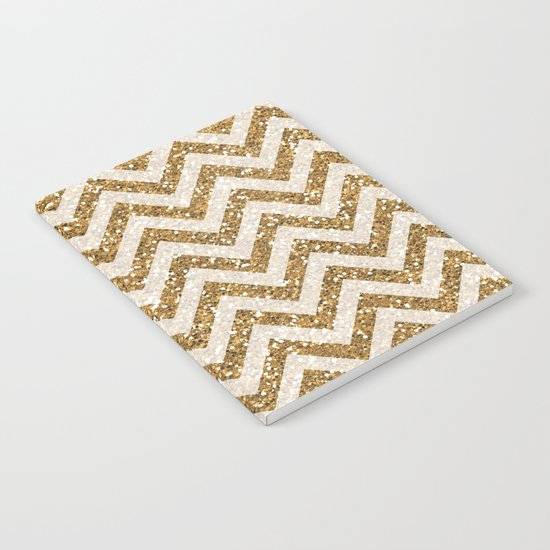 Sparkling gold glitter chevron pattern Notebook
