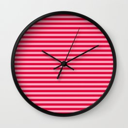 Retro, Beach, Colorful Stripes, Pink and Red Wall Clock