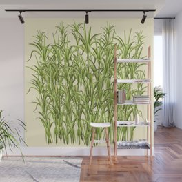 Sugar Cane Exotic Plant Pattern Wall Mural