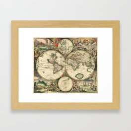 Old map of world (both hemispheres) Framed Art Print