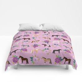 horse, floral, florals, flowers, pink, flowers, bloom, horse, horse bedding, horse blanket, horse, p Comforters