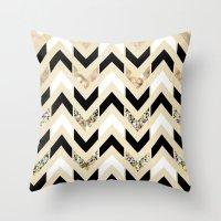 Throw Pillows featuring Black, White & Gold Glitter Herringbone Chevron on Nude Cream by Tangerine-Tane