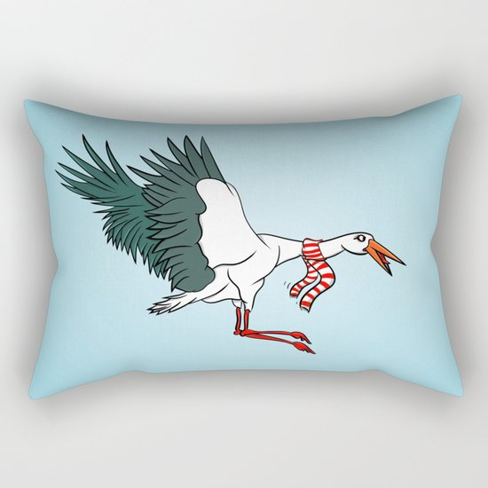 Crane Wearing A Scarf Rectangular Pillow