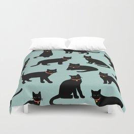 Black cats / Illustration / Pattern Duvet Cover