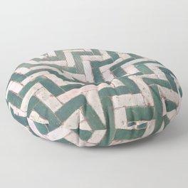 Moroccan floor tiles in green and white chevron Floor Pillow