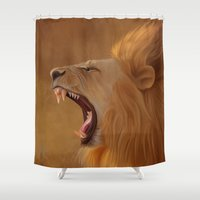 leo Shower Curtains featuring Leo by Ivan Pawluk