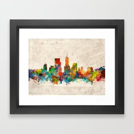 indianapolis city skyline watercolor 3 Framed Art Print
