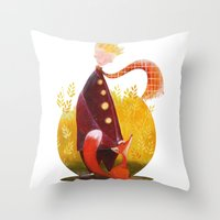 le petit prince Throw Pillows featuring Le Petit Prince by Federica Fabbian
