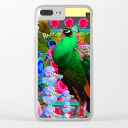 PINK ROSES & GREEN PEACOCK YELLOW GARDEN FLORAL ABSTRACT Clear iPhone Case