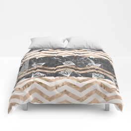 Gold, Black and White Marble Comforters