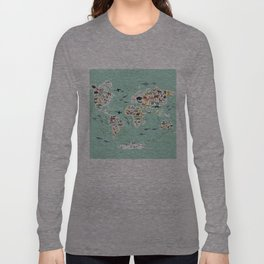 Cartoon animal world map for children, kids, Animals from all over the world, back to school, mint Langarmshirt