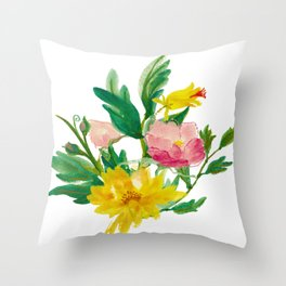 Watercolor Bouquet of Yellow and Purple Peonies Throw Pillow