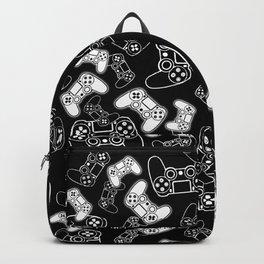 Video Games White on Black Backpack