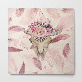 Bull Skull Floral Metal Print