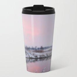 Winter Sunset At River Bank Travel Mug
