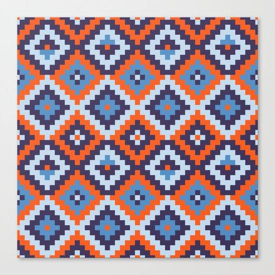 Aztec pattern - orange, blue Canvas Print