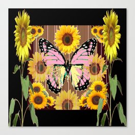 BLACK ABSTRACT PINK BUTTERFLY SUNFLOWER FLORAL Canvas Print